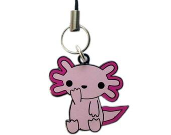 Kawaii Axolotl Metal Charm, Axolotl Key Chain, Kawaii Phone Charm, Mexican Walking Fish Charm, Axolotl Charm, Pink Charm, Axolotl Key Ring