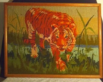 Vintage Lion Latch Hook Framed Wall Art