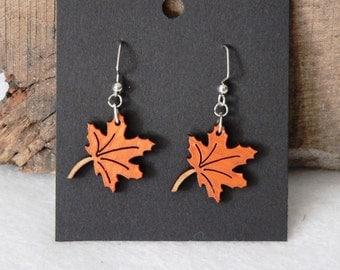 Autumn Leaf Engraved Wooden Earrings