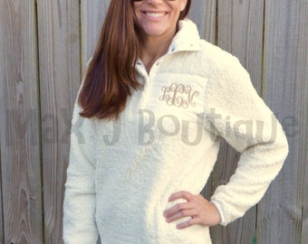 IN STOCK!  Monogrammed Sherpa Pullover - Personalized Fleece Sherpa Pullover - Monogrammed Pullover