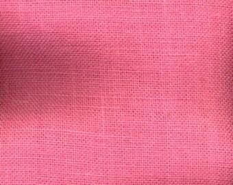 Burlap, pink table  runner  fringed