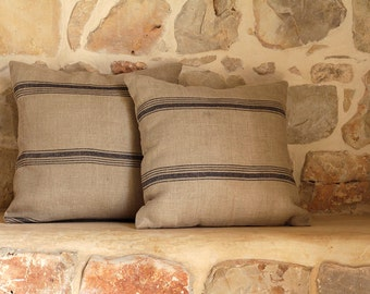Hand-woven natural beige linen cushion cover with gray stripes
