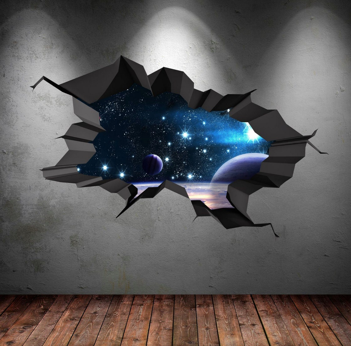 3d space wall decal cracked hole space galaxy stars full zoom