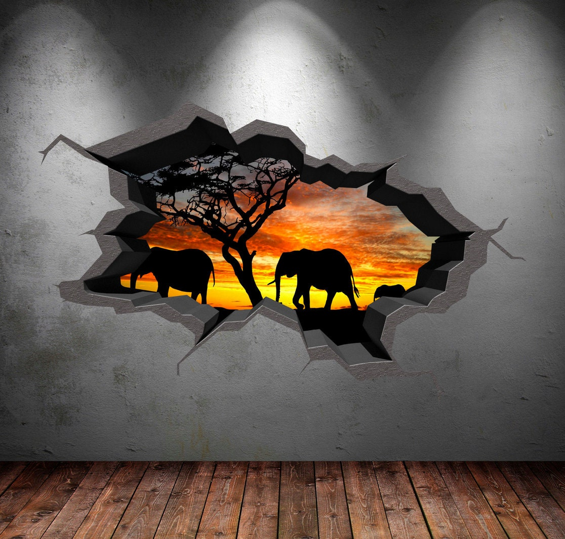 Elephant safari wall decal cracked 3d wall sticker mural decal zoom amipublicfo Images