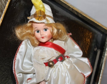 8 Inch Vintage Doll Marching Band Doll or Majorette, Weighted Eyes, Still in Package, Boots, Hat, Outfit, Collectible, Toy For Older Child