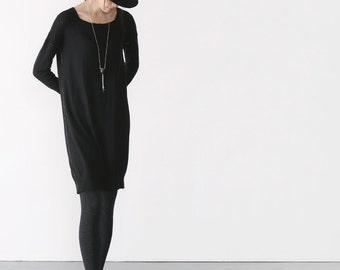 Black minimal cashmere dress BonLife