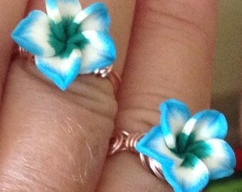 Blue Rose Polymer Ring sizes available 6,7,8, and 9
