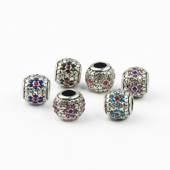 Cz Diamond Beads: 1pc 5Colors U Pick Silver Plated Bucket European Beads Charms