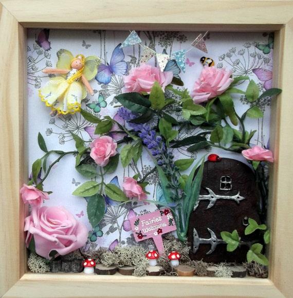 Sale fairy door scene box frame fairy garden wall art for Fairy door wall art