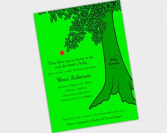 The Giving Tree Invitation, Tree Birthday or Baby Shower Invite, 5 x 7 DIY Printable PDF or JPEG, Green