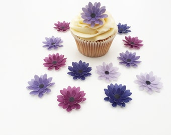 14 Edible Shades of Purple 3D Wafer Flowers Cupcake Toppers Precut