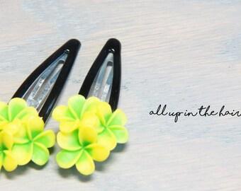 Green Barrettes - Green Plumeria Barrettes - Flower Barrettes