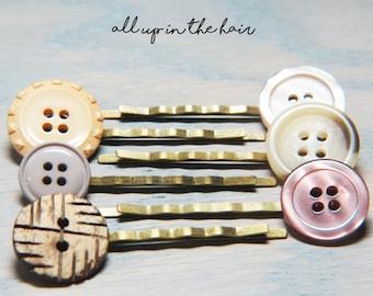 Neutral Bobby Pins - Bobby Pin Set - Hair Pin Set - Button Bobby Pin - Button Hair Pin - Wood Bobby Pin - Grey Bobby Pins