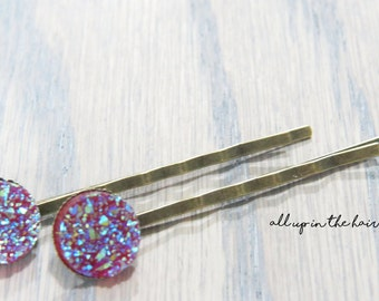 Druzy Bobby Pins - Red Bobby Pins