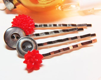 Button Bobby Pins  - Red Flower Bobby Pins - Red Bobby Pin - Vintage Button Bobby Pins- Red Hair Pins - Flower Hair Pins - Button Hair Pins