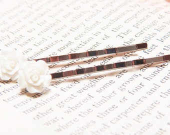 White Bobby Pins - White Rose Bobby Pins- Set of Two - White Flower Bobby Pins - White Flower Hair Pins - White Bobby Pins - White Hair Pin