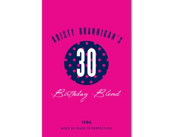 30th Birthday Wine Label - 4x6.5 - Birthday Blend, Aged to Perfection - Navy and Hot Pink Polka Dots - Printable and Personalized