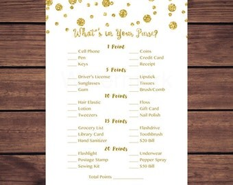 Gold What's in Your Purse Game, Whats in Your Purse Baby Shower Game, Bridal Shower Gold Confetti Gold Dots Instant Download PDF Printable