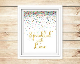 Baby Shower Sign, Sprinkled with Love Sign, Instant Download Baby Shower Welcome Sign JPEG PDF Printable