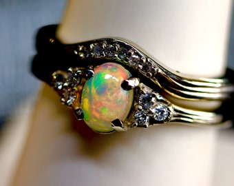 opal diamond engagement ring set matching diamond wedding band your choice of solid