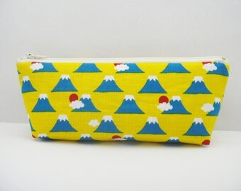 Japanese pencil case, Zipper pouch, Mt.Fuji, Yellow
