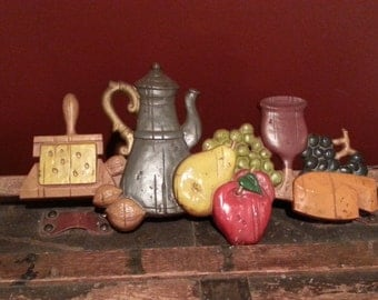 Vintage 1950's 50s Midwest Cast Metal Country Home Kitchen Decor. Kettle, Fruit, Nuts, Wine Glass and Cheese Wall Hanging Plaque