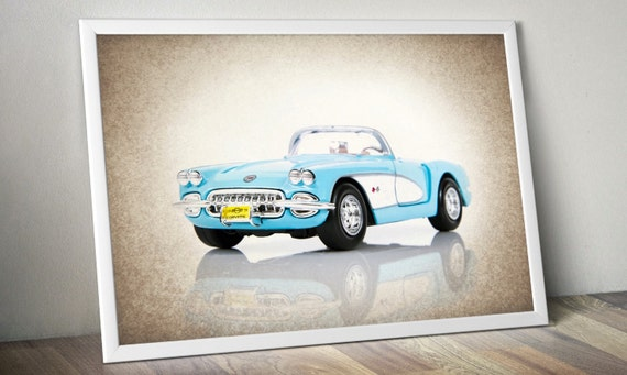 1959 Chevy Corvette Turquoise Decor Ideas Wall Art By