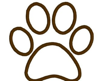 Embroidery Design Pattern Applique Dog Paw Print Outline File Instant Download
