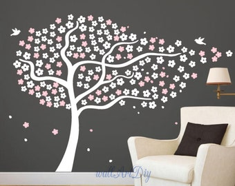 Tree wall decal Cherry tree wall stickers Giant white and pink tree wall mural Tree and birds wall decal Floral tree wall sticker-23