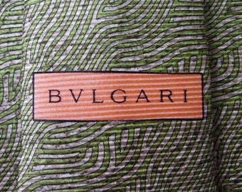 Bvlgari Tie Woven Silk Twin Swirl Pattern Green Vintage Davide Pizzigoni Designer Dress 7 Fold Necktie Made In Italy
