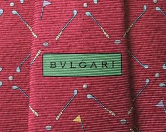 Bvlgari Tie Woven Silk Twin Golf Repeat Pattern Red Vintage Davide Pizzigoni Designer Dress 7 Fold Necktie Made In Italy