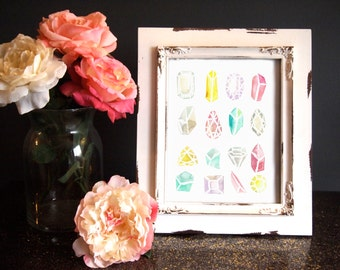 Gemstones Watercolor Print (8.5 x 11)