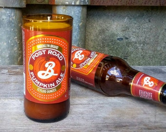 Scented Candle Decor, Brooklyn Brewing Recycled Glass Pumpkin Ale Bottle