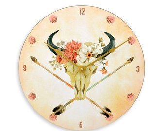 Southwestern Boho Style Bull Skull With Wreath And Crossed Arrows 10 Inch Kitchen  Wall Clock.