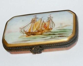French Porcelain Limoges Trinket Box Marine Royal 1750 R. U.
