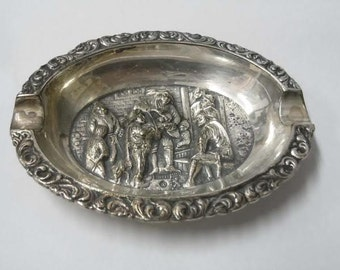 Vintage Silver Plated Interior Tavern Scene Ash Tray Fiddle Player
