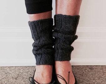 Wool leg warmers, winter legwear, charcoal grey wool fashion socks, knitted boot topper.