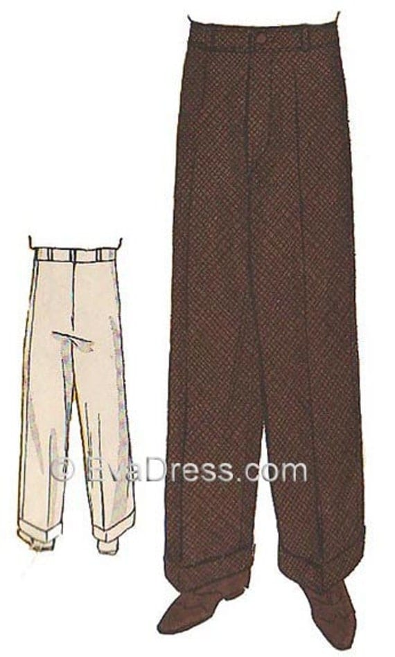 Men's Vintage Reproduction Sewing Patterns 1934 Mens Wide Leg Trousers Pattern by EvaDress  AT vintagedancer.com