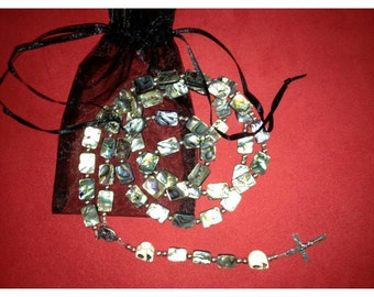 Mother Of Pearl Rosary, Sterling Silver