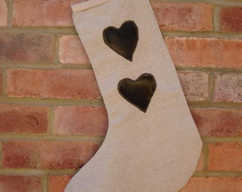 Linen Christmas Stocking with Velvet Hearts