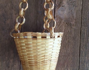 Vintage wicker hanging basket