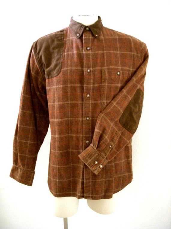 Vintage 80s 90s brown plaid flannel shirt with elbow patches for Mens flannel shirt with elbow patches
