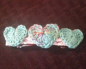 Teal hearts on 3 inch French barrette