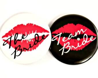 """Bachelorette Party Button. 2.25"""". bride button. team bride button. bachelorette party button. rhinestone button. lip button. bridal shower."""
