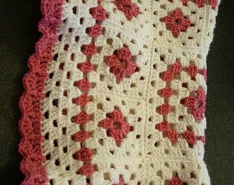 Pink and White Baby Blanket, Shower Gift