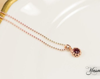 Garnet rose gold plated