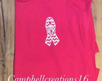 Breast Cancer Awareness T Shirt / Breast Cancer Shirt / Breast Cancer / Breast Cancer Monogram Ribbon / Breast Cancer Shirt /