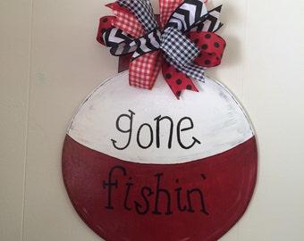 Gone fishin' door hanger, wooden door hanger, hand painted