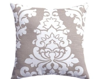 Decorative Pillow Cover, Euro Sham Taupe Pillow Cover, Damask Pillow, Tan Pillow Covers, Berlin Throw Pillow Cover, Ecru Decorative Pillow