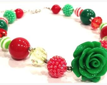 Flower Bubble Gum Chunky Necklace